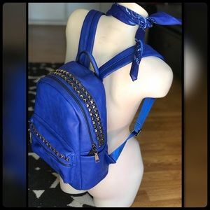Cobalt blue vegan leather backpack